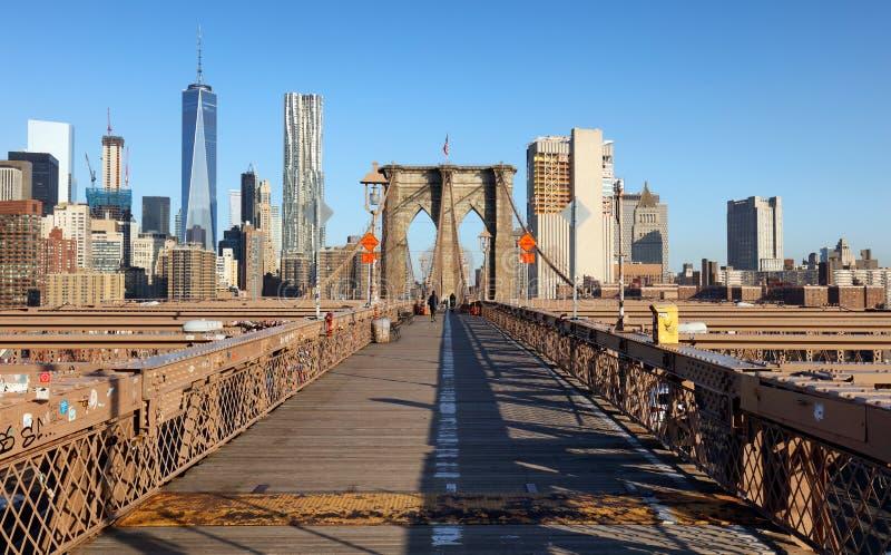 Brooklyn-Brücke bei Sonnenaufgang, New York City, Manhattan lizenzfreie stockfotografie