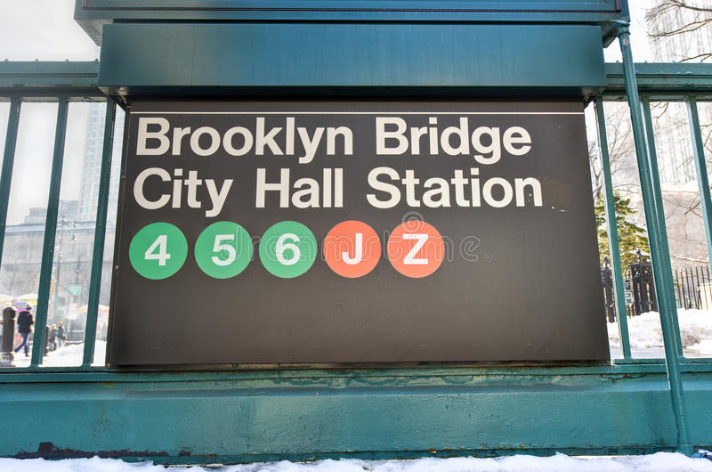 Brooklyn-Brücke, Stadt Hall Station - New- Yorku-bahn lizenzfreies stockfoto