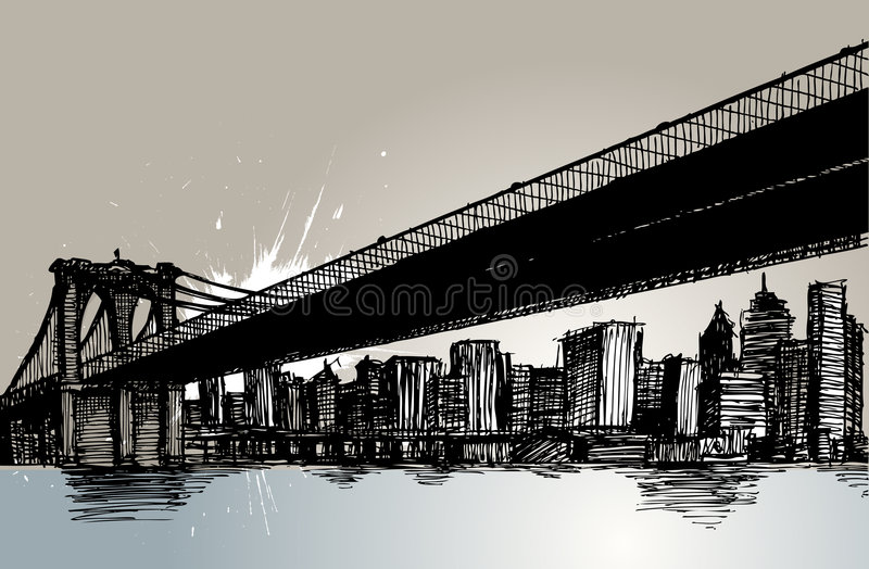 Brooklyn-Brücke und New York City stock abbildung