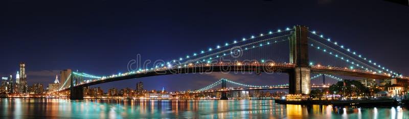 Brooklyn-Brückeenpanorama in New York City Manhatta lizenzfreie stockfotos
