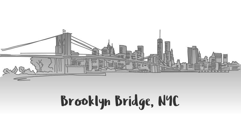 Brooklyn-Brücken-Manhattan-Skyline-Markstein lizenzfreie abbildung