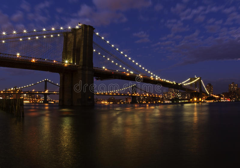 Brooklyn bridge. At night from New York City side at night royalty free stock photography
