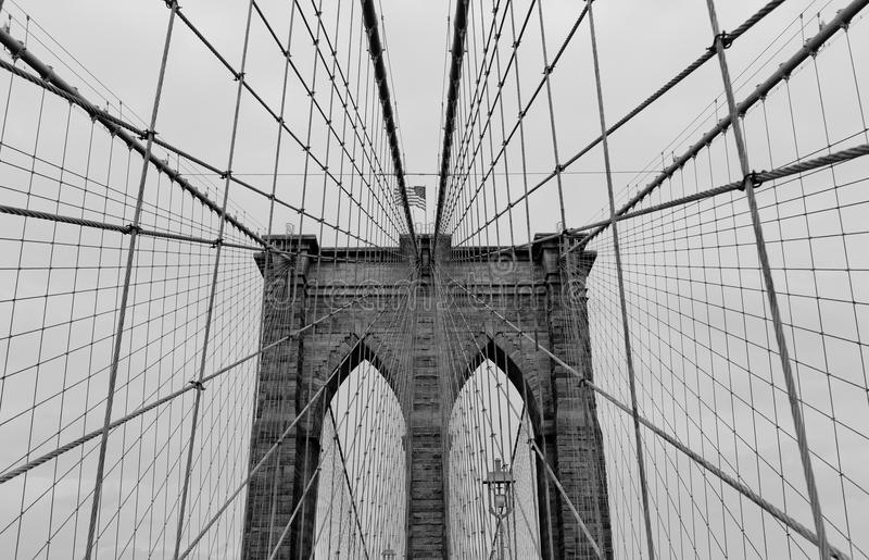 Brooklyn Bridge. Black and white view of Brooklyn Bridge, New York City, U.S.A stock photos