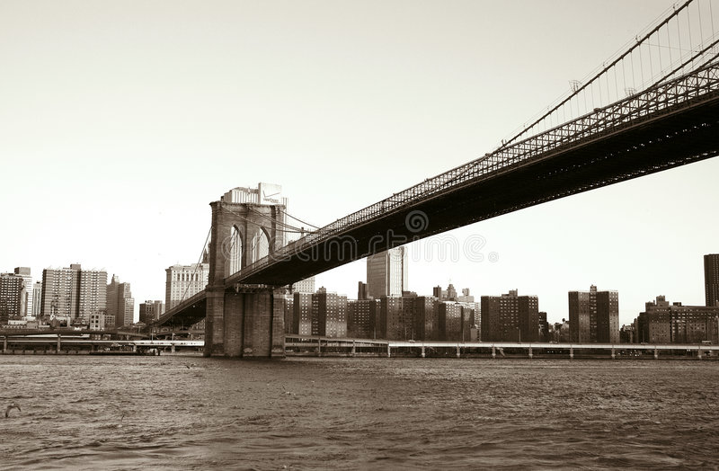 Brooklyn bridge. And east river as seen from brooklyn side, nyc royalty free stock photo