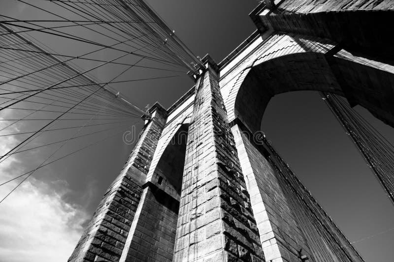 Brooklyn Bridge. Black and white view of Brooklyn Bridge royalty free stock image