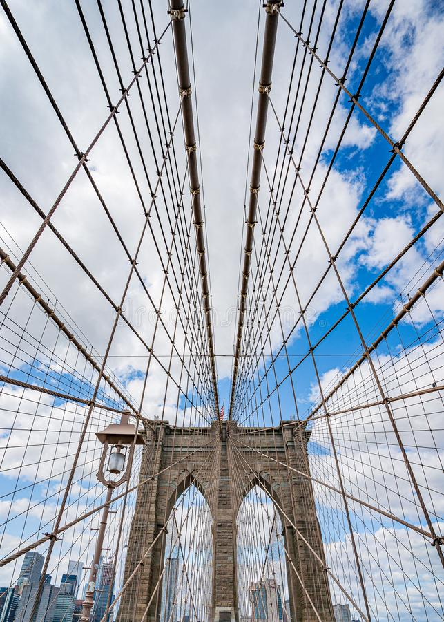Brooklyn Bridge across East River to Low Manhattan New York. Wide angle view royalty free stock photography