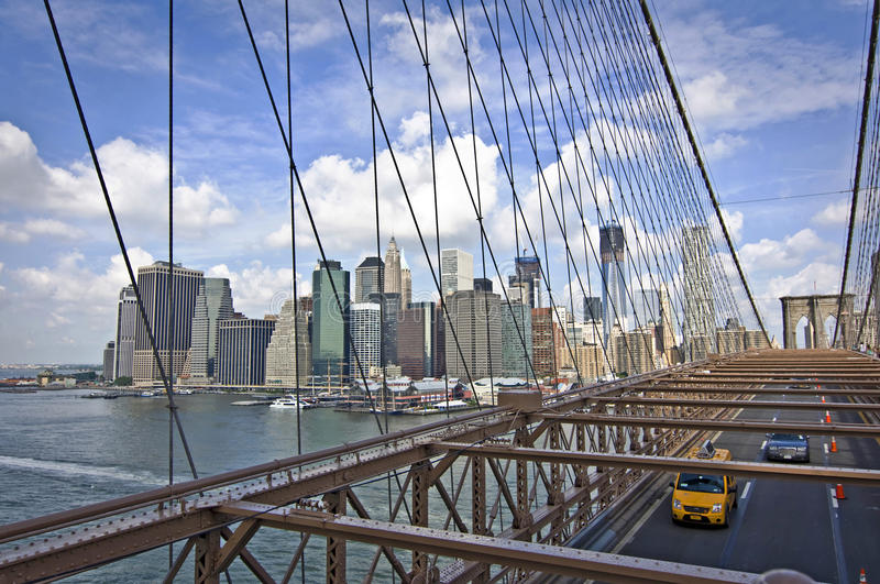Brooklyn bridge, aerial view, New York royalty free stock photo
