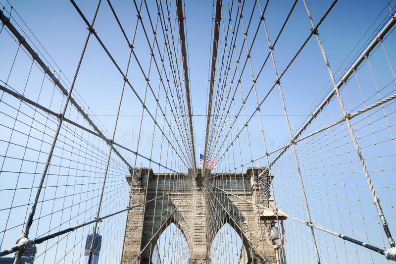 Brooklyn Bridge with American Flag royalty free stock images