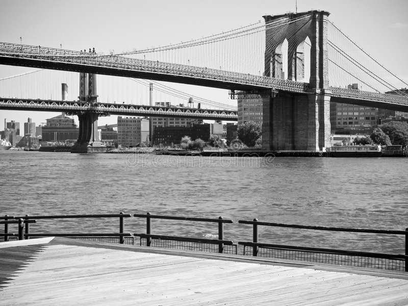 Brooklyn Bridge BW stock images