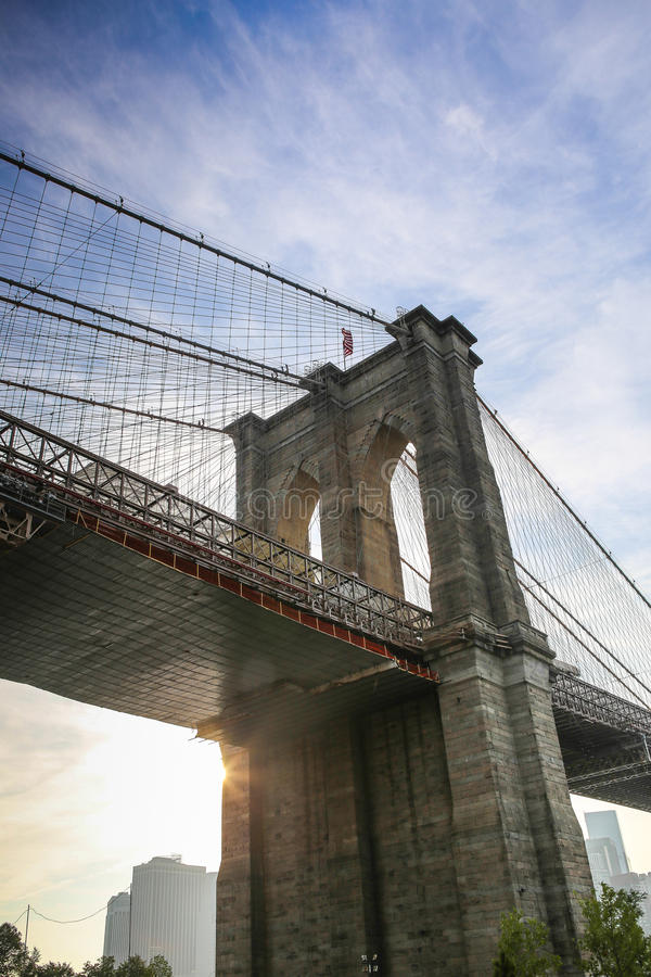 Brooklyn Bridge closeup at sunset royalty free stock images