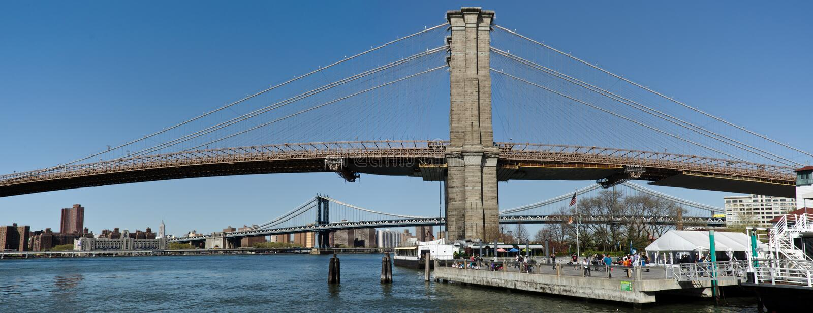 Brooklyn Bridge and downtown skyline royalty free stock images