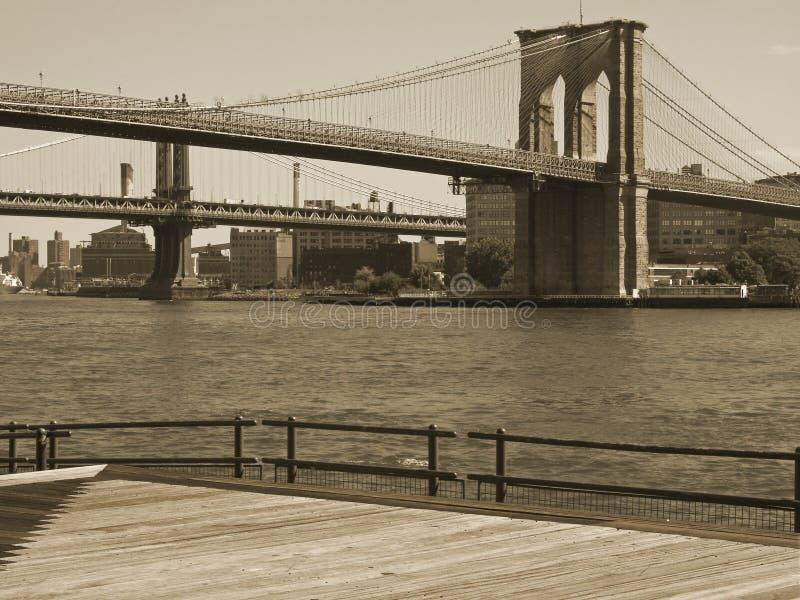 Download Brooklyn Bridge Duo-tone stock image. Image of fence, buildings - 301919