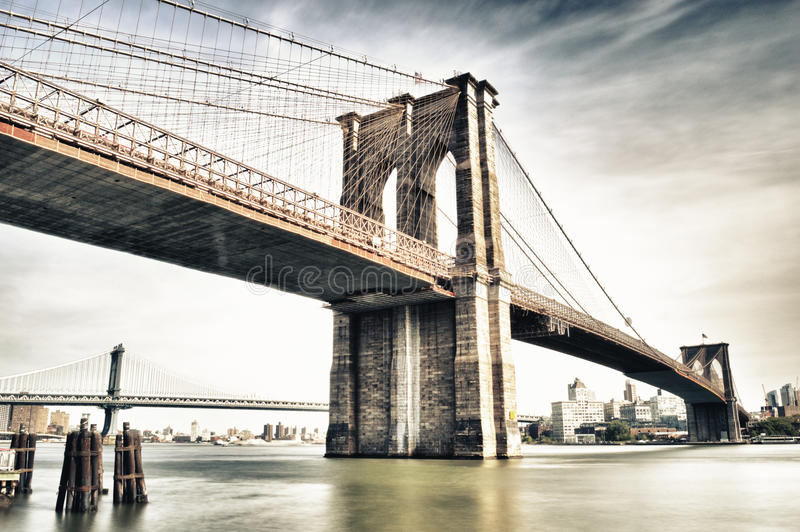 Brooklyn Bridge. HDR image of Brooklyn Bridge - view from Manhattan royalty free stock photo