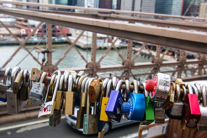 Brooklyn Bridge with love padlocks. NEW YORK CITY-APRIL 23: Brooklyn Bridge with love padlocks in New York, USA on April 23, 2014 royalty free stock photography