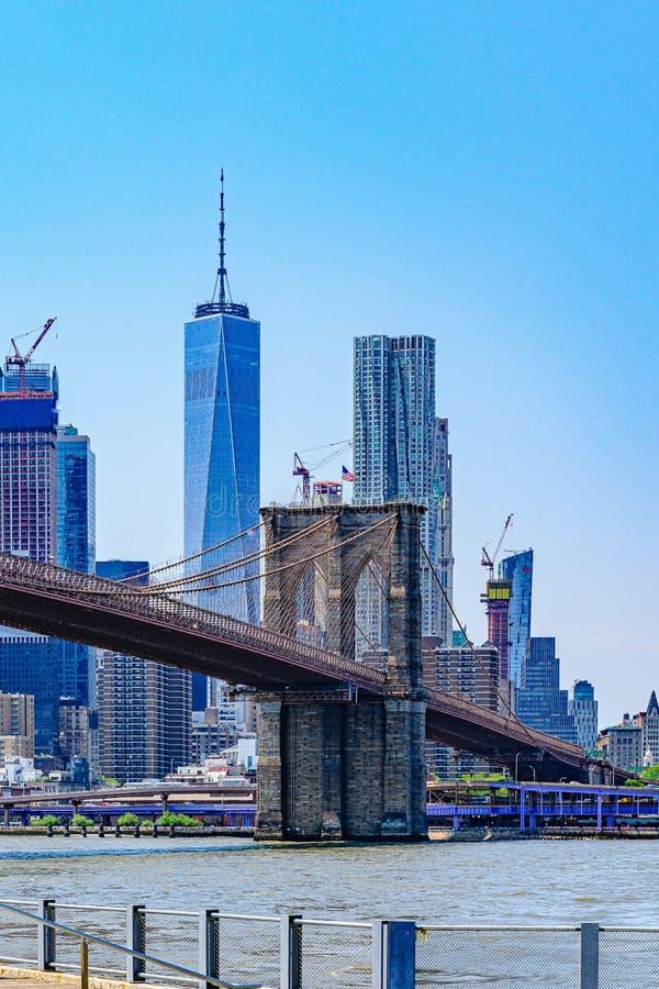 Brooklyn Bridge with lower Manhattan skyline, One World Trade Center in New York City. stock photography