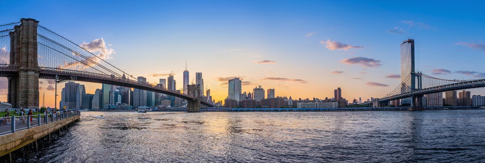 New york. Brooklyn bridge and lower manhattan while sunset stock images