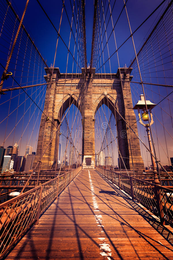 Brooklyn Bridge and Manhattan New York City US stock images