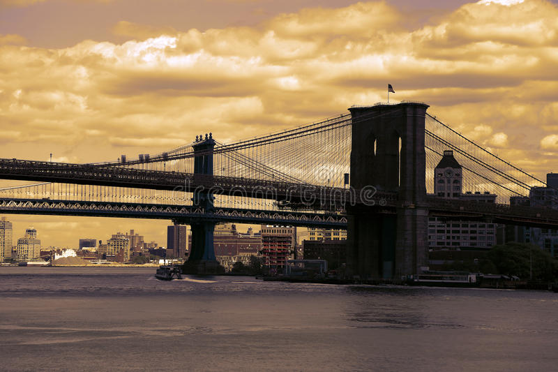 Brooklyn Bridge in Manhattan, NYC stock image