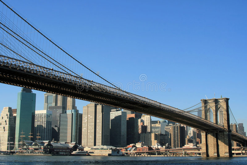 Download Brooklyn Bridge And Manhattan Skyline Stock Image - Image: 1721011