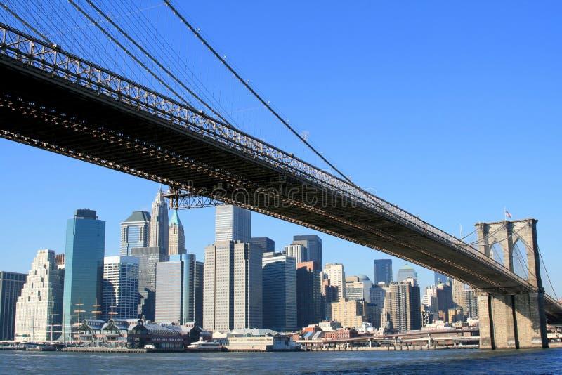 Brooklyn Bridge and Manhattan skyline stock photos