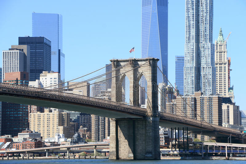 Brooklyn Bridge and Manhattan Skyline stock photo