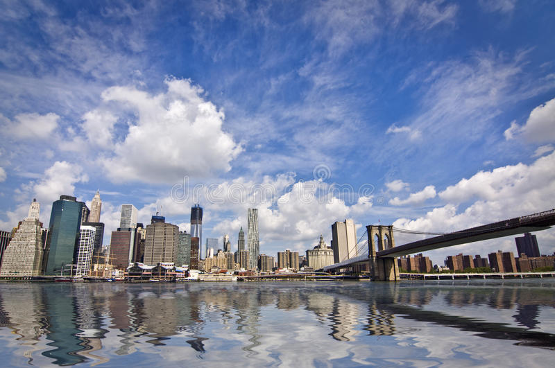 The Brooklyn bridge and Manhattan skyline, New York stock photo