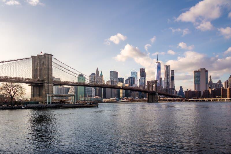 Brooklyn Bridge and Manhattan Skyline - New York, USA stock image