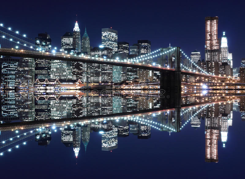 Brooklyn Bridge and Manhattan skyline At Night. New York City stock photo