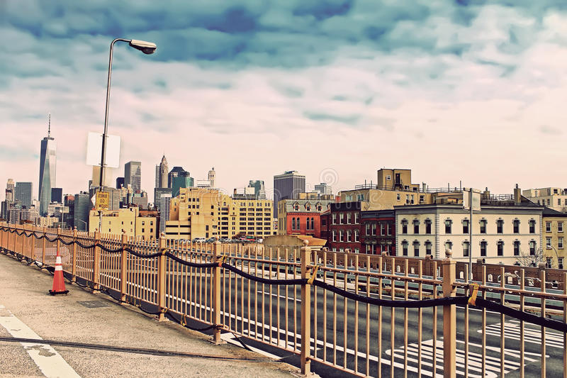 Brooklyn Bridge in Manhattan with skyscrapers. New York City stock image