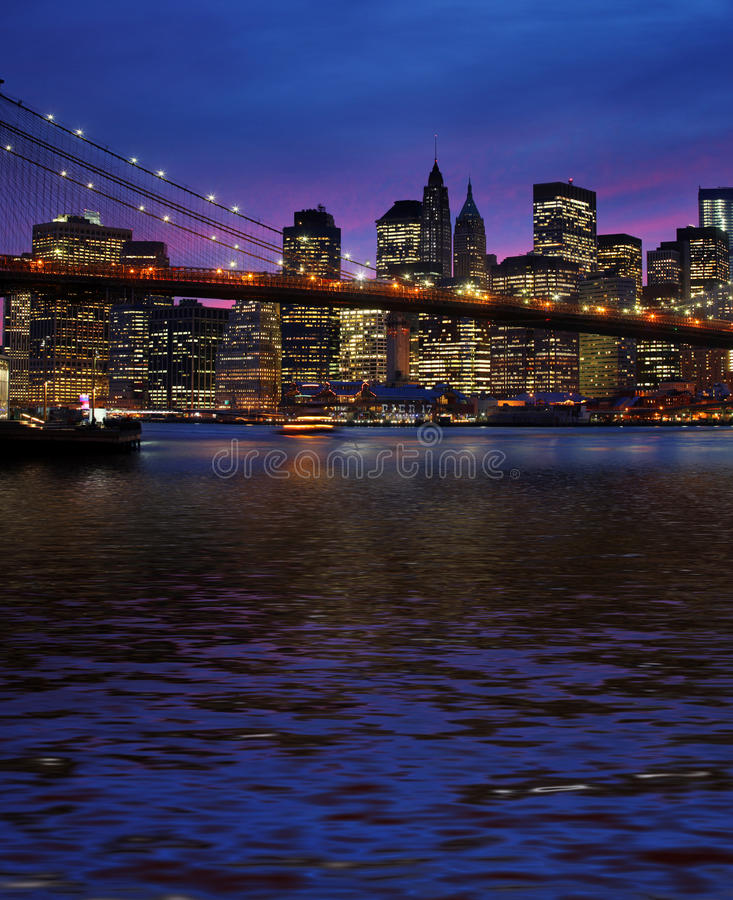 Download Brooklyn Bridge And Manhattan At Sunset Stock Photo - Image: 34294548