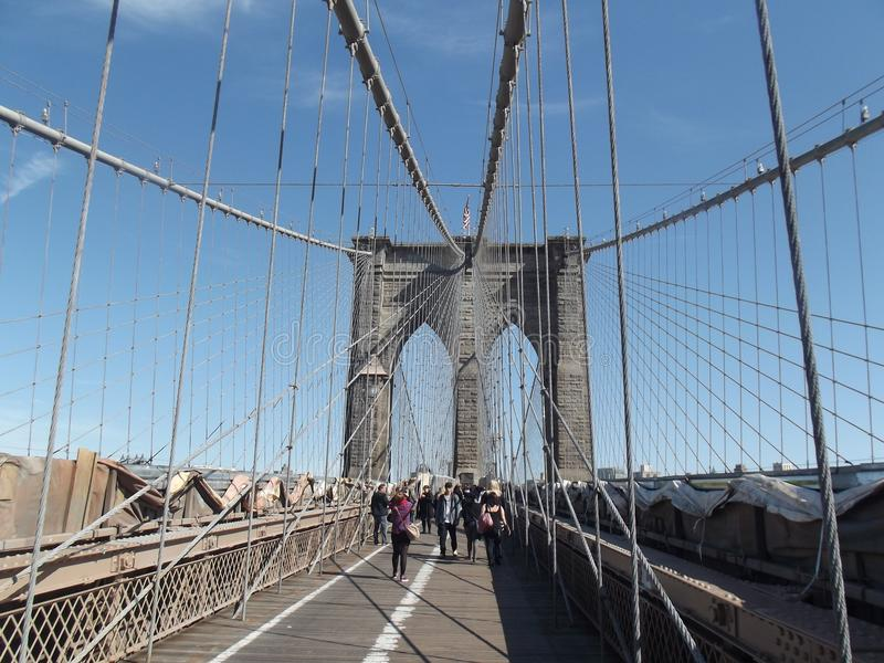 Brooklyn bridge new york without busy royalty free stock image