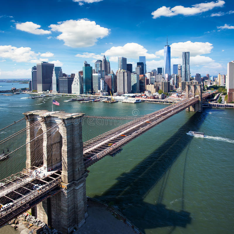 Brooklyn Bridge in New York City - aerial view stock photos