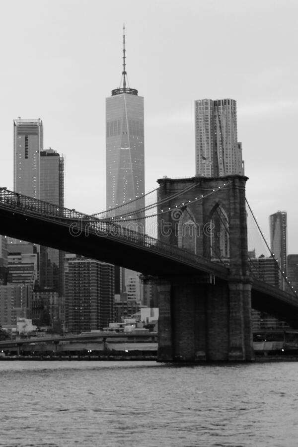 Brooklyn Bridge Black and White. Brooklyn Bridge and the New York City skyline in black and white royalty free stock photos
