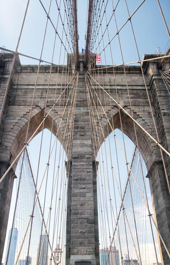 Brooklyn bridge and New York City Skyline daytime stock images
