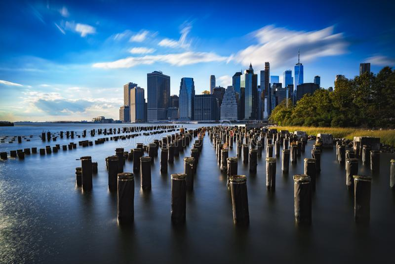 Brooklyn bridge, New York city skyline stock photo