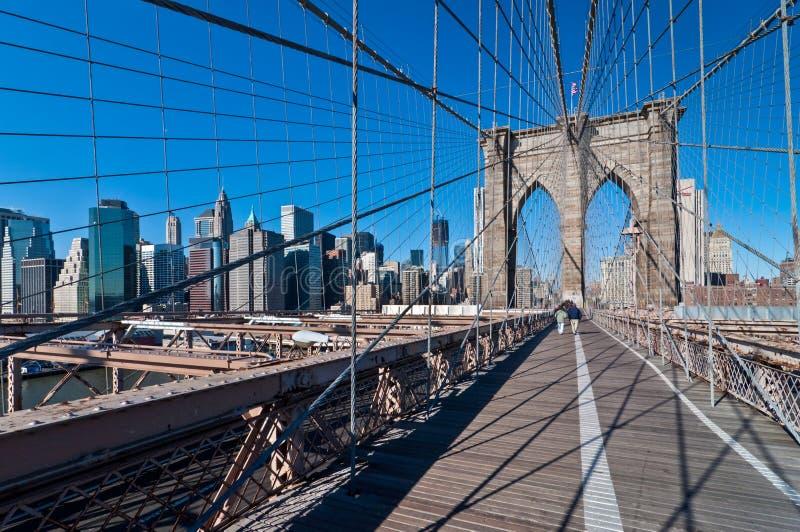 Brooklyn bridge in New York City stock images