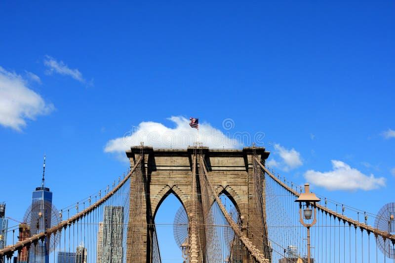 Brooklyn Bridge, New York City, USA. The Brooklyn Bridge over East River in New York City, USA stock images
