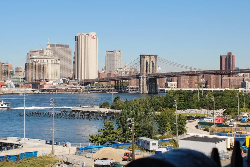 Brooklyn Bridge in New York. The great famous bridge royalty free stock photos