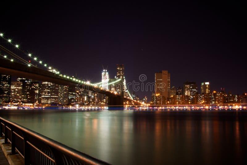 Brooklyn Bridge, New York at Night royalty free stock photos