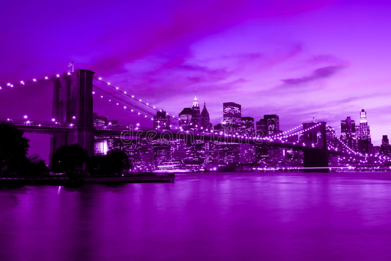 Brooklyn Bridge, New York in purple and blue tone royalty free stock photos