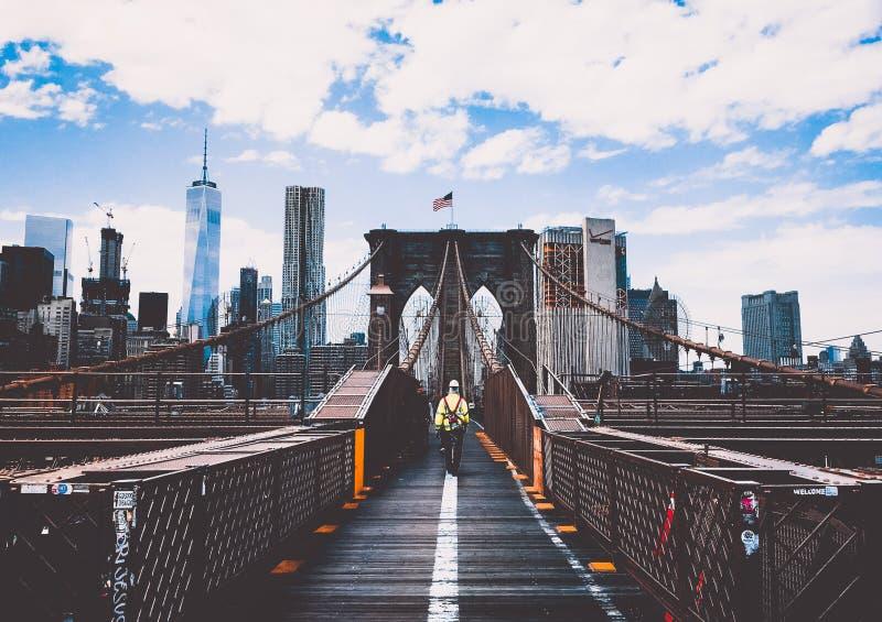 Brooklyn Bridge and New York skyline stock image