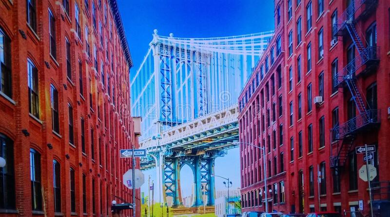 Brooklyn Bridge, New York, United States, The Brooklyn Bridge is one of the icons of New York City. It`s a suspension bridge royalty free stock images