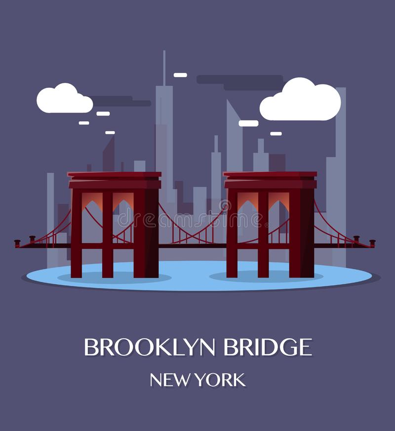 Brooklyn Bridge New York.Vector Illustration. stock illustration