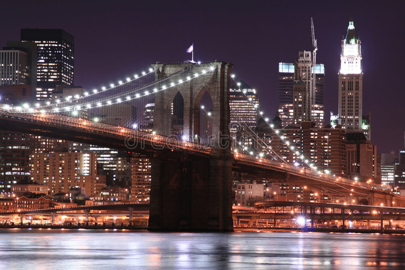 Download Brooklyn Bridge At Night stock photo. Image of nation - 1889478