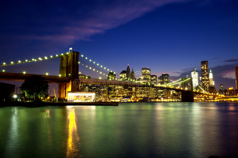 Download Brooklyn Bridge at Night. stock image. Image of manhattan - 21257765