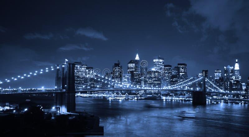 Brooklyn Bridge at night royalty free stock images