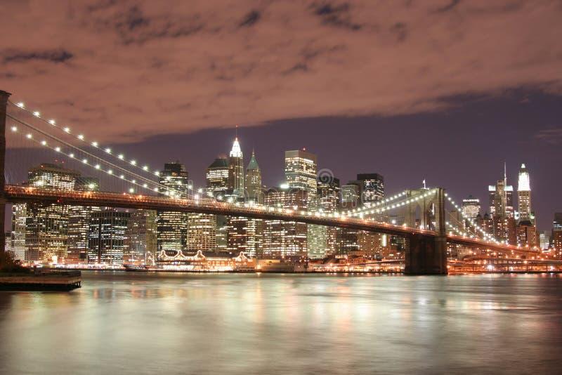 Brooklyn bridge noc zdjęcia royalty free