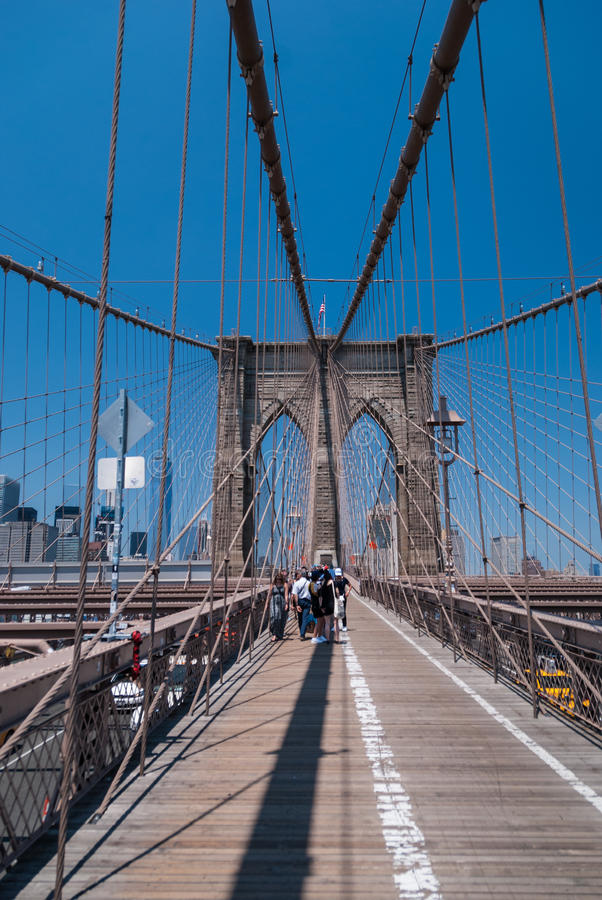 Brooklyn Bridge, NYC. Brooklyn Bridge pedestrian path, New York stock photography