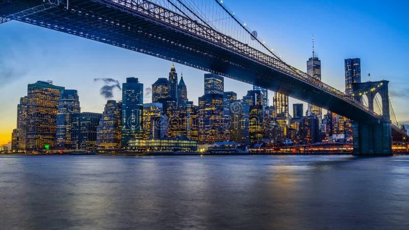 Brooklyn Bridge and NYC Skyline during Sunset stock photo
