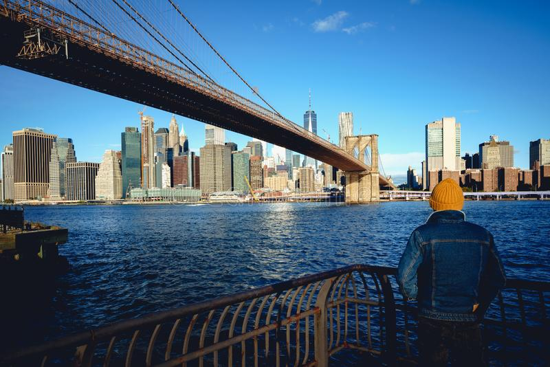 Brooklyn bridge USA stock photo